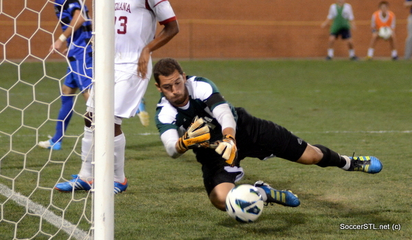Luis Soffner makes a save in the Hoosiers' season-opening win at SLU.